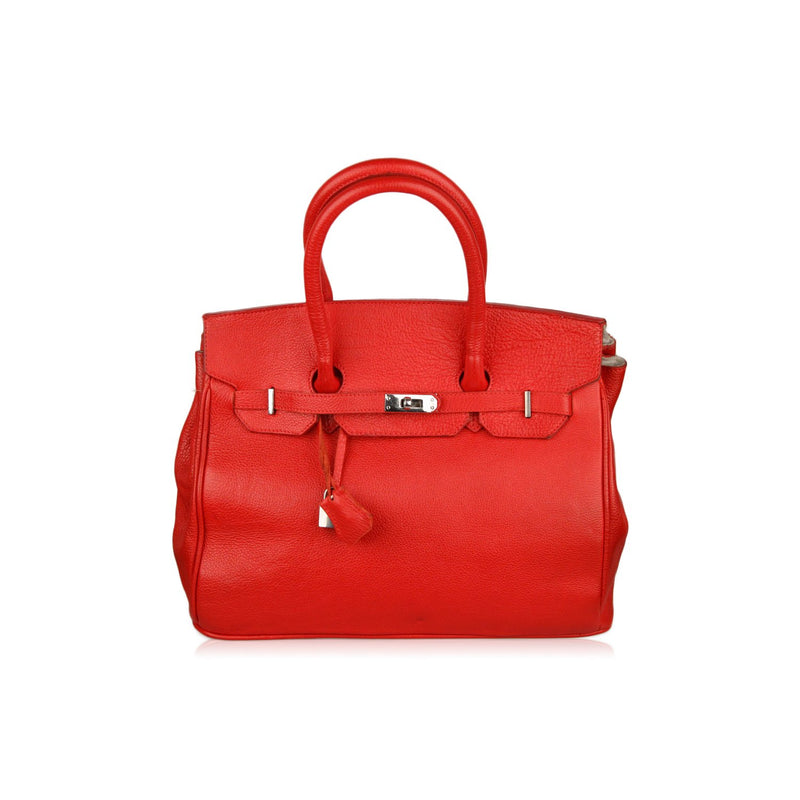 Red Leather Top Handles Bag Satchel