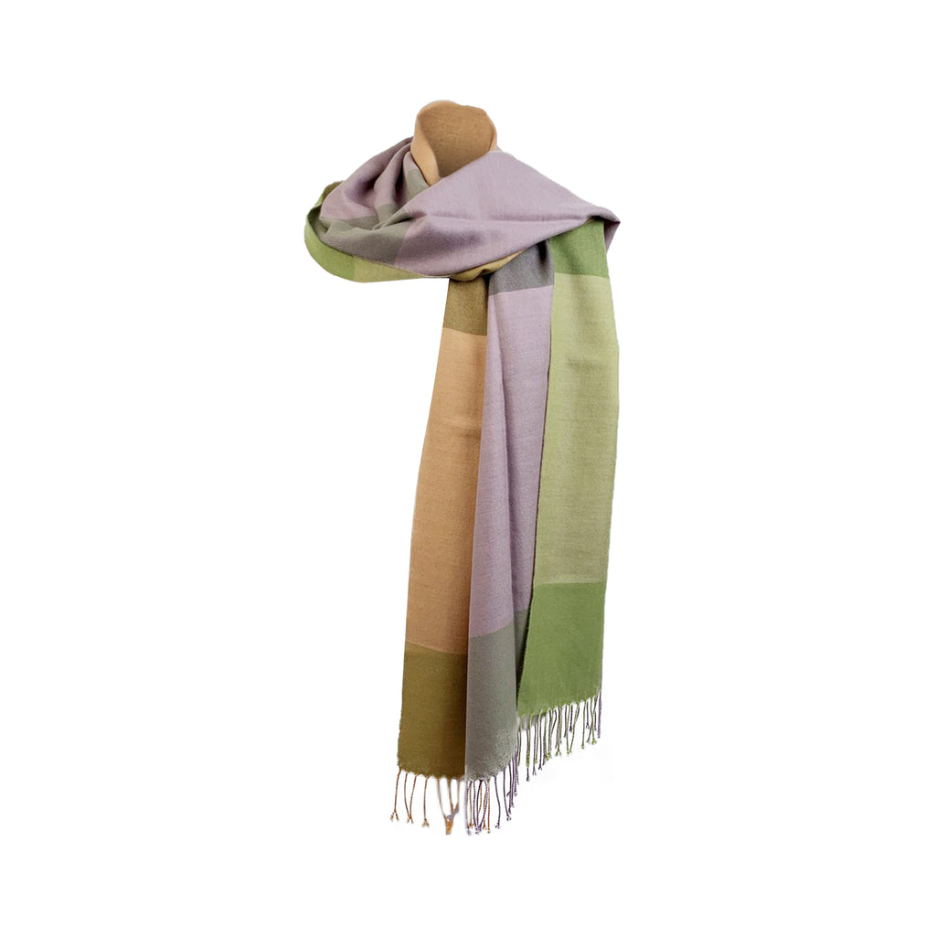 Wilhelm Jungmann & Neffe Color Block Cashmere Large Scarf with Fringes
