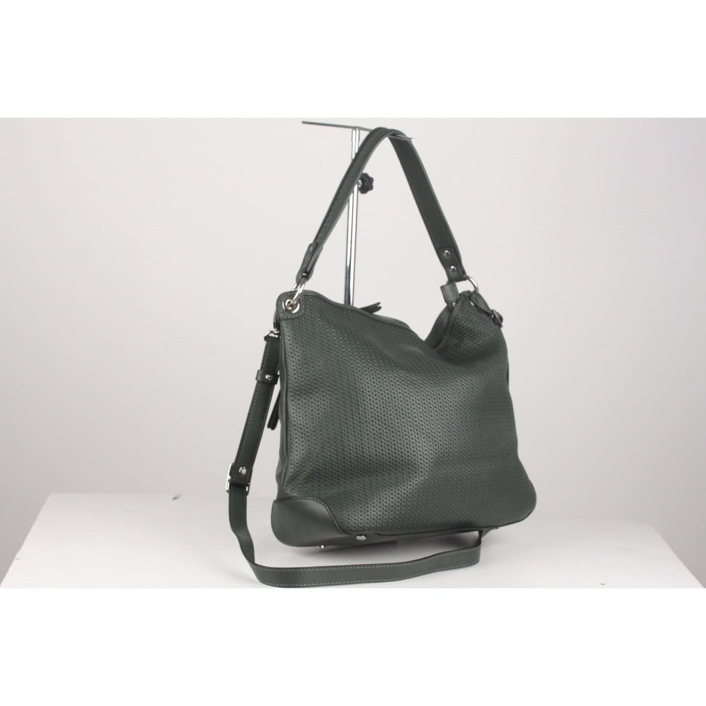 0714 Green Leather Embossed Chain Pattern Pippa Tote Shoulder Bag Opherty & Ciocci