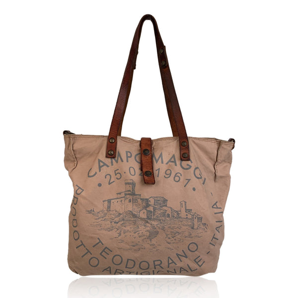 Campomaggi Teodorano Beige Canvas Tote Shopping Bag with Print
