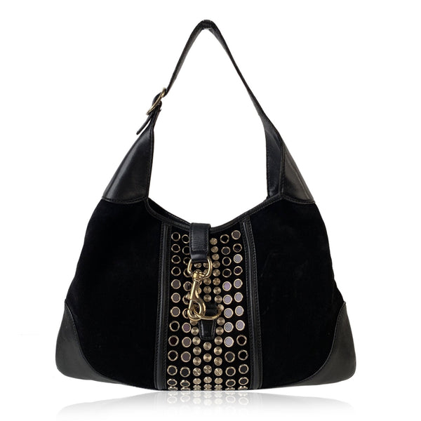 Gucci Black Suede Studded Jackie O Bouvier Hobo Shoulder Bag