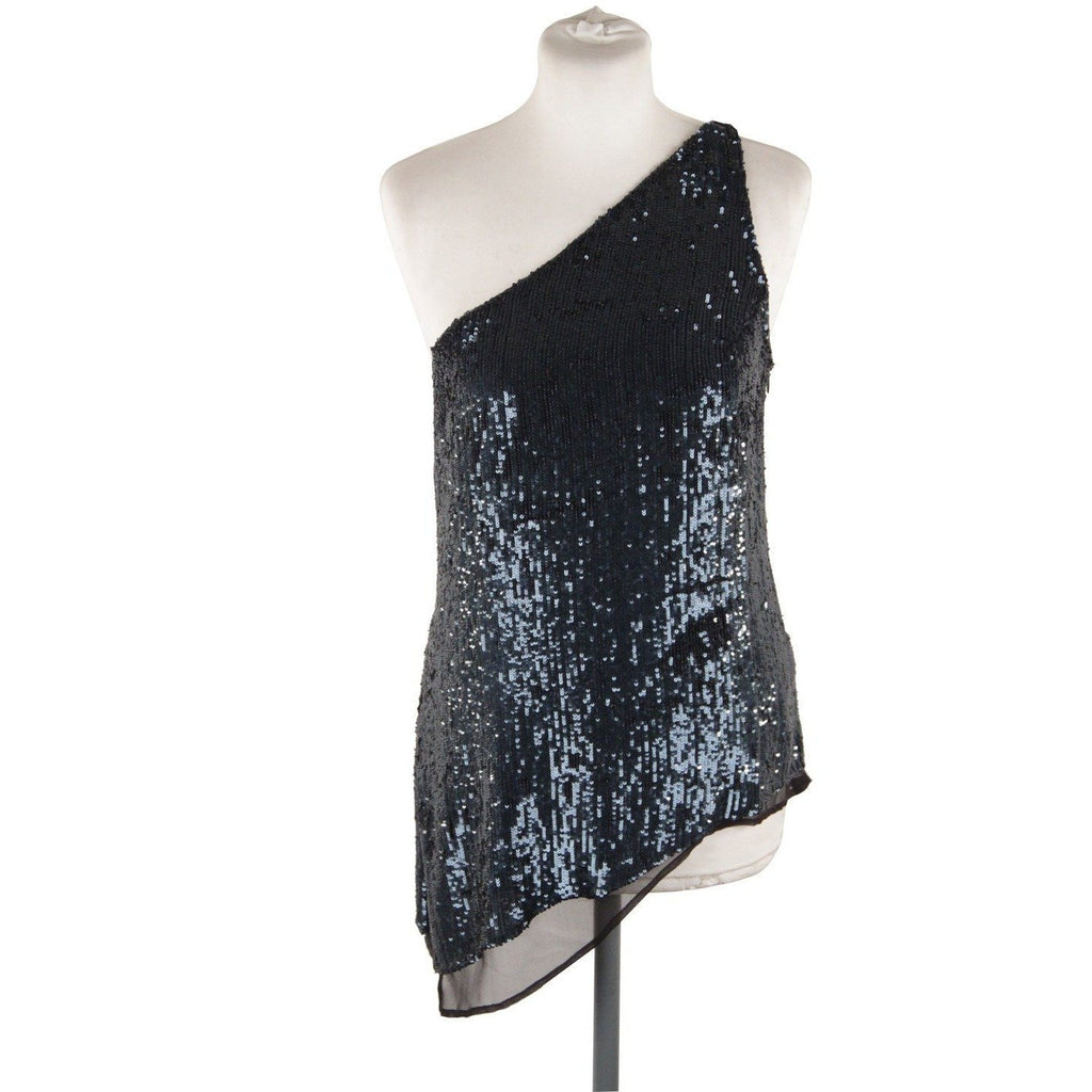 Blue Silk Sequin One Shoulder Top with Asymmetric Hem