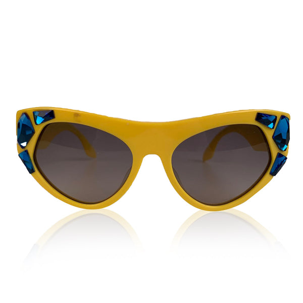 Prada Cat-Eye Crystal Voice Yellow Sunglasses SPR 21 Q 56-18 mm