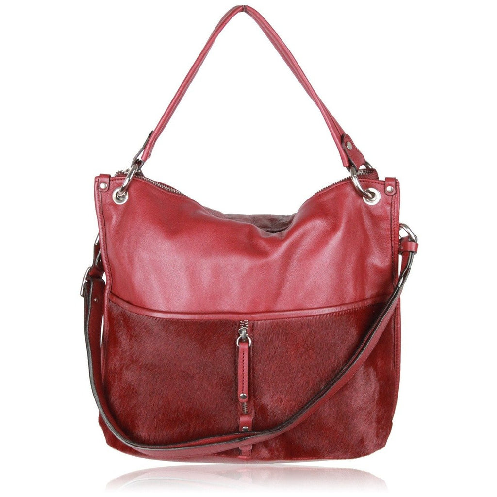 0714  Burgundy Leather & Pony Hair NATASHA SHOULDER BAG