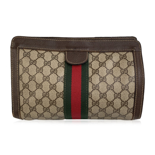 Gucci Vintage Tan Monogram Canvas Cosmetic Bag Clutch with Stripes