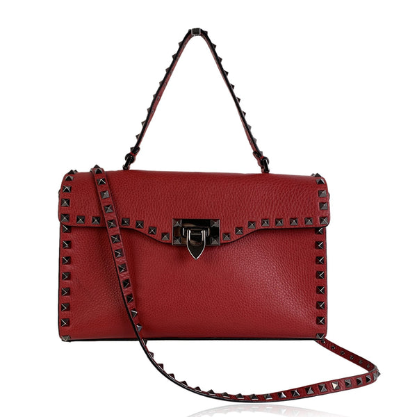 Valentino Red Leather 'Rockstud' Leather Single Handle Shoulder Bag - OPHERTY & CIOCCI