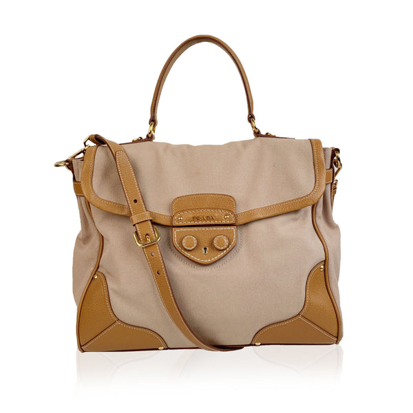 Prada Beige Canvas and Leather Top Handle Bag Satchel with Strap