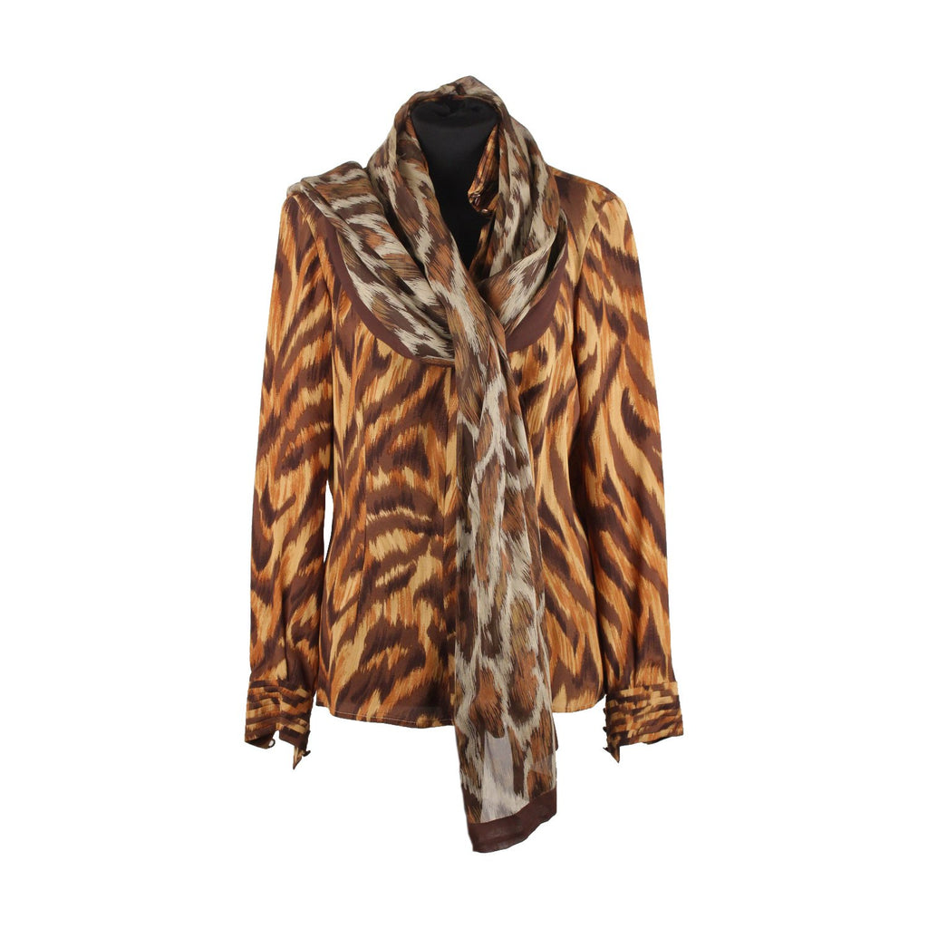 Valentino Animalier Print Silk Blouse with Scarf Size 8 - OPHERTY & CIOCCI