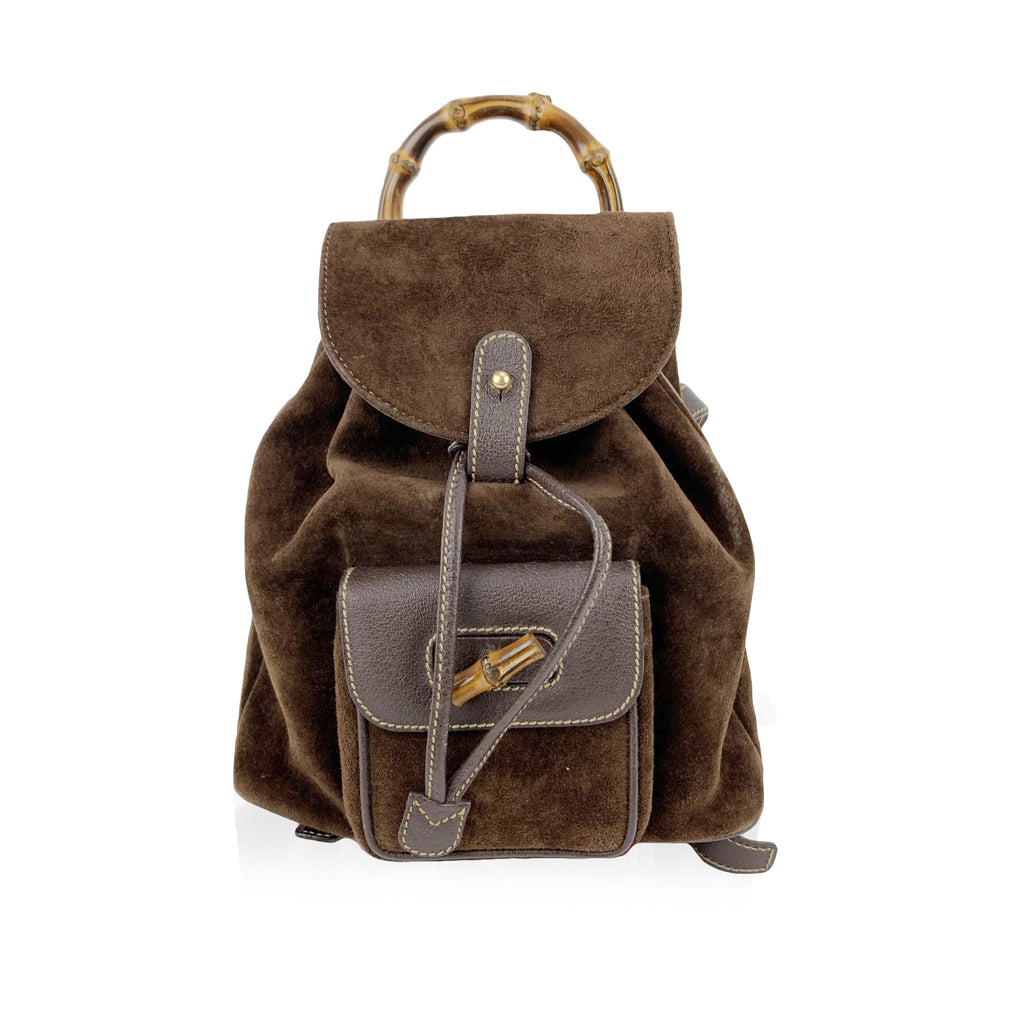 Gucci Vintage Brown Suede Small Bamboo Backpack Shoulder Bag