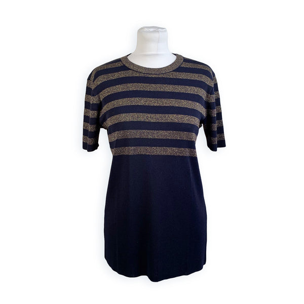 Yves Saint Laurent Vintage Blue Gold Stripes Jumper Size 42