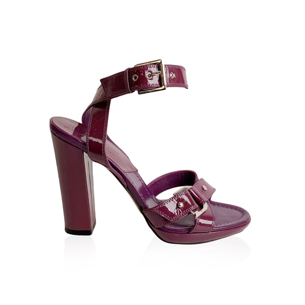Christian Dior Purple Patent Leather Sandals Size 37.5