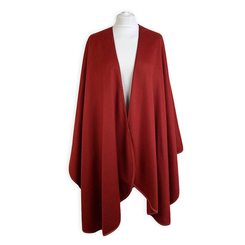Loro Piana Vintage Red Cashmere Shawl Cape Large Scarf