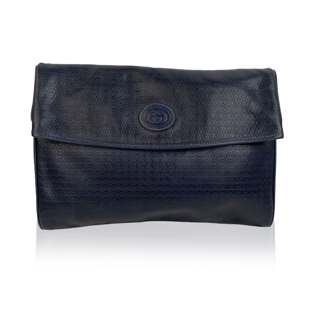 Gucci Vintage Blue Embossed Leather Clutch Bag Handbag