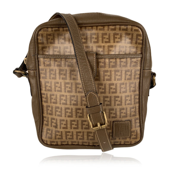 Fendi Vintage Tan FF Monogram Vinyl Canvas Messenger Bag