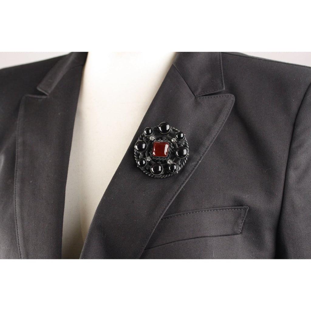 Chanel Vintage 1984 Black Metal Brooch