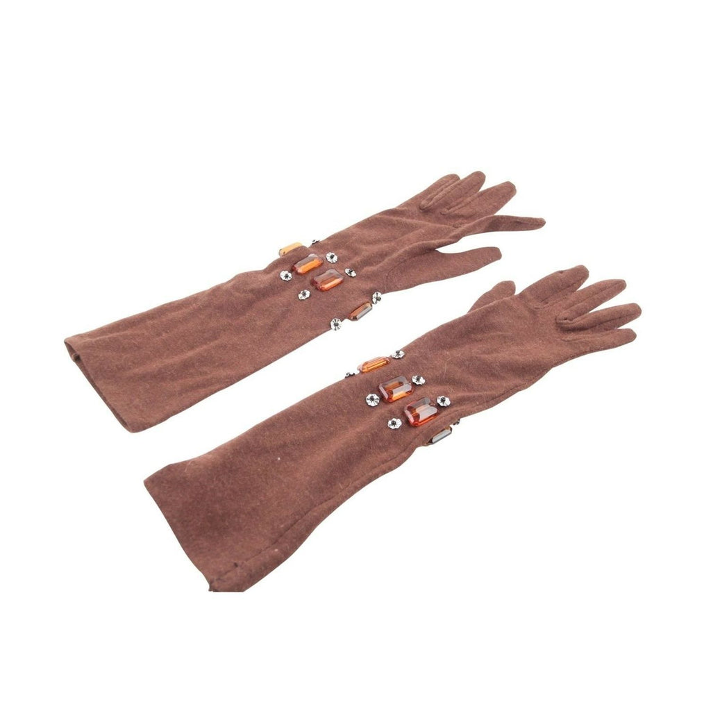 Unbranded Made in Italy Brown Stretch Wool Elbow Gloves and Rhinestones - OPHERTY & CIOCCI