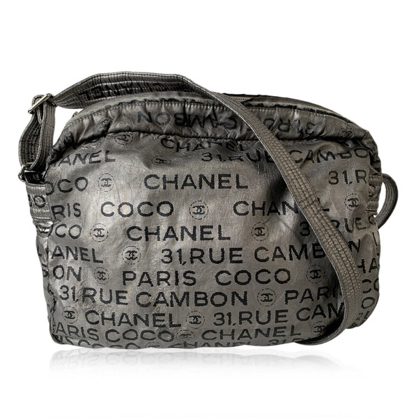 Chanel Silver Metallic Canvas CC Unlimited Messenger Crossbody Bag