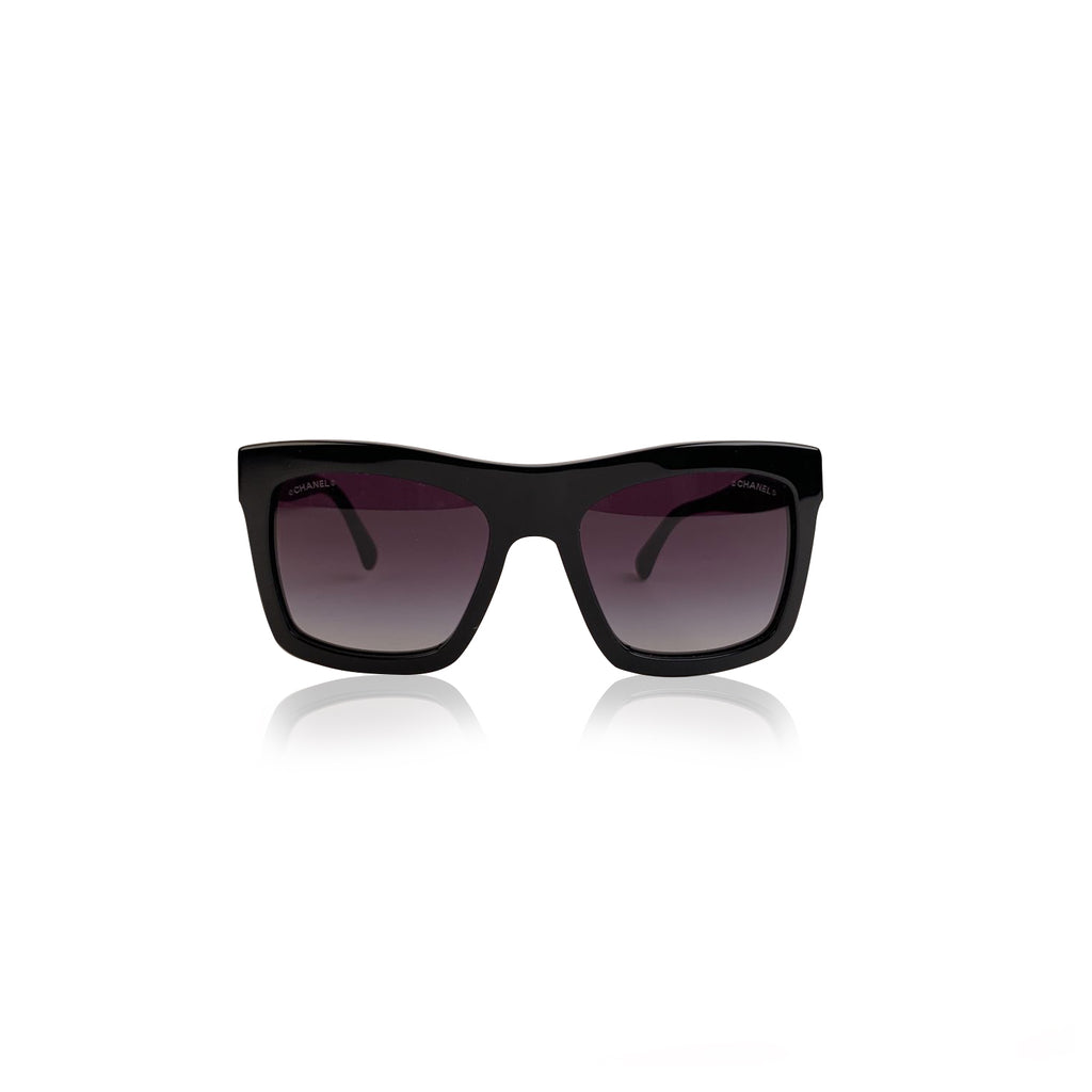Chanel Black Acetate 71042 Square Sunglasses CC Logo
