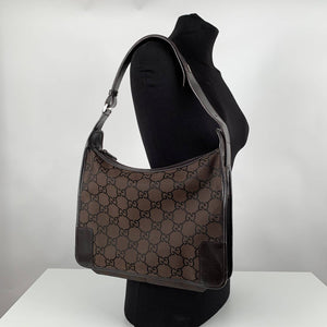 Gucci Monogram Canvas Hobo Shoulder Bag