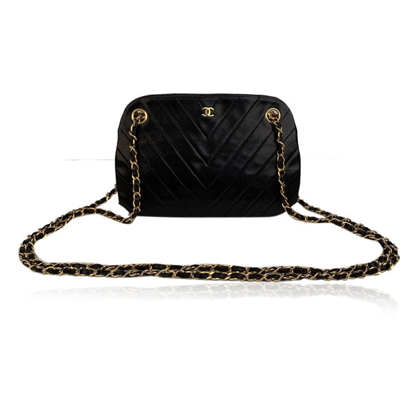 Chanel Vintage Black V Quilted Leather Shoulder Bag