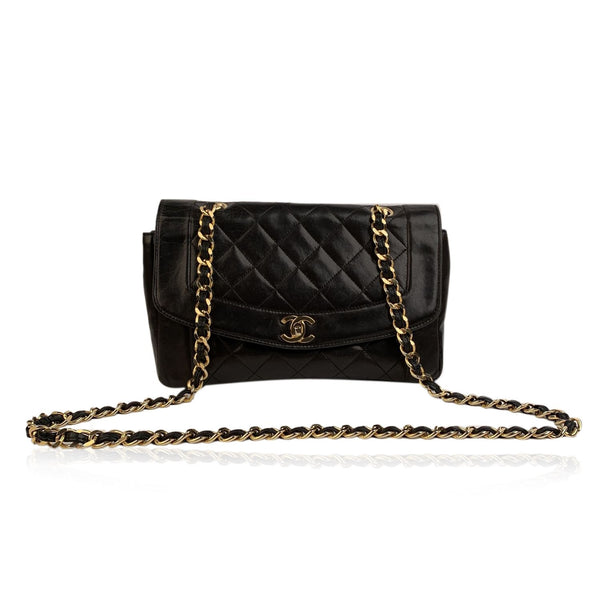 Chanel Vintage Black Quilted Leather Smooth Trim Shoulder Bag