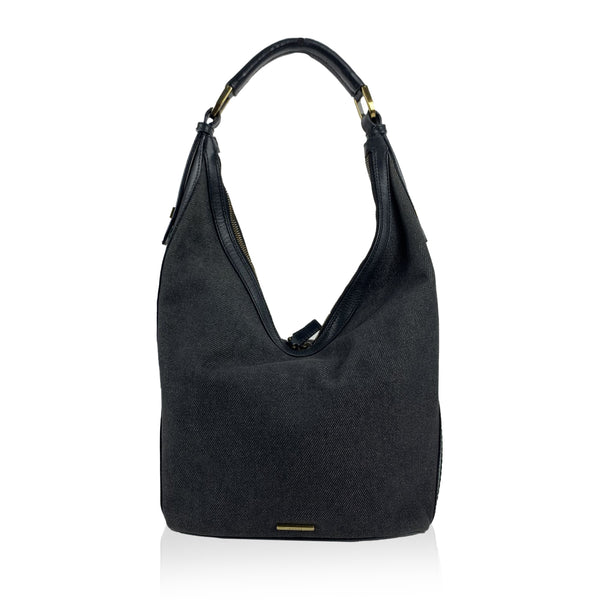 Gucci Black Canvas Hobo Shoulder Bag Tote with Stripes