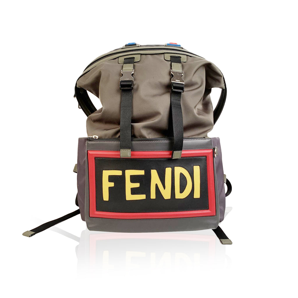 Fendi Military Green Nylon Vocabulary Camping Backpack Bag