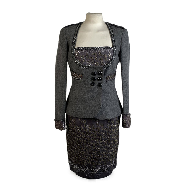 Blumarine Gray Embellished Bustier Dress Set with Blazer