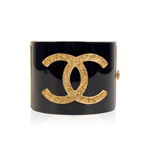 Chanel Black Resin and CC Logo Wide Cuff Bracelet Manchette