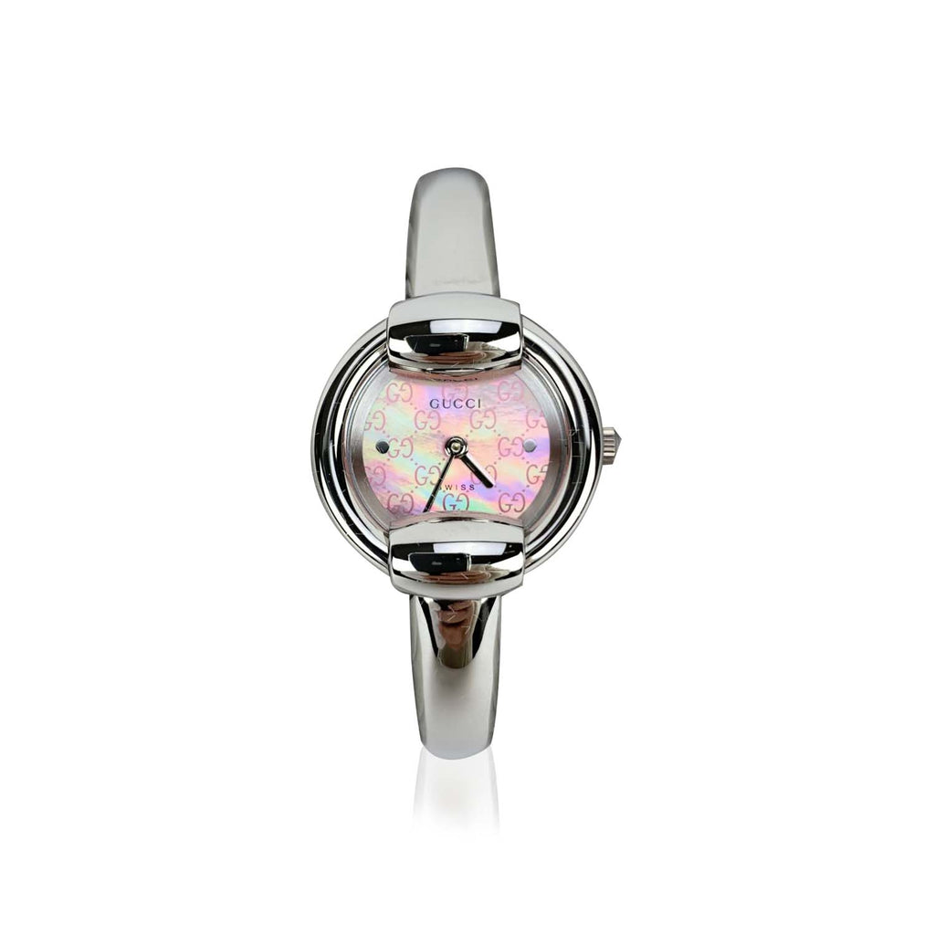 Gucci Vintage Stainless Steel Mod 1400 L Wrist Watch Pink Dial
