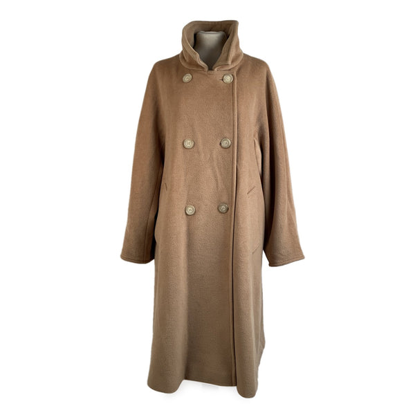 Max Mara Beige Virgin Wool Double Breasted Cocoon Coat Size 36