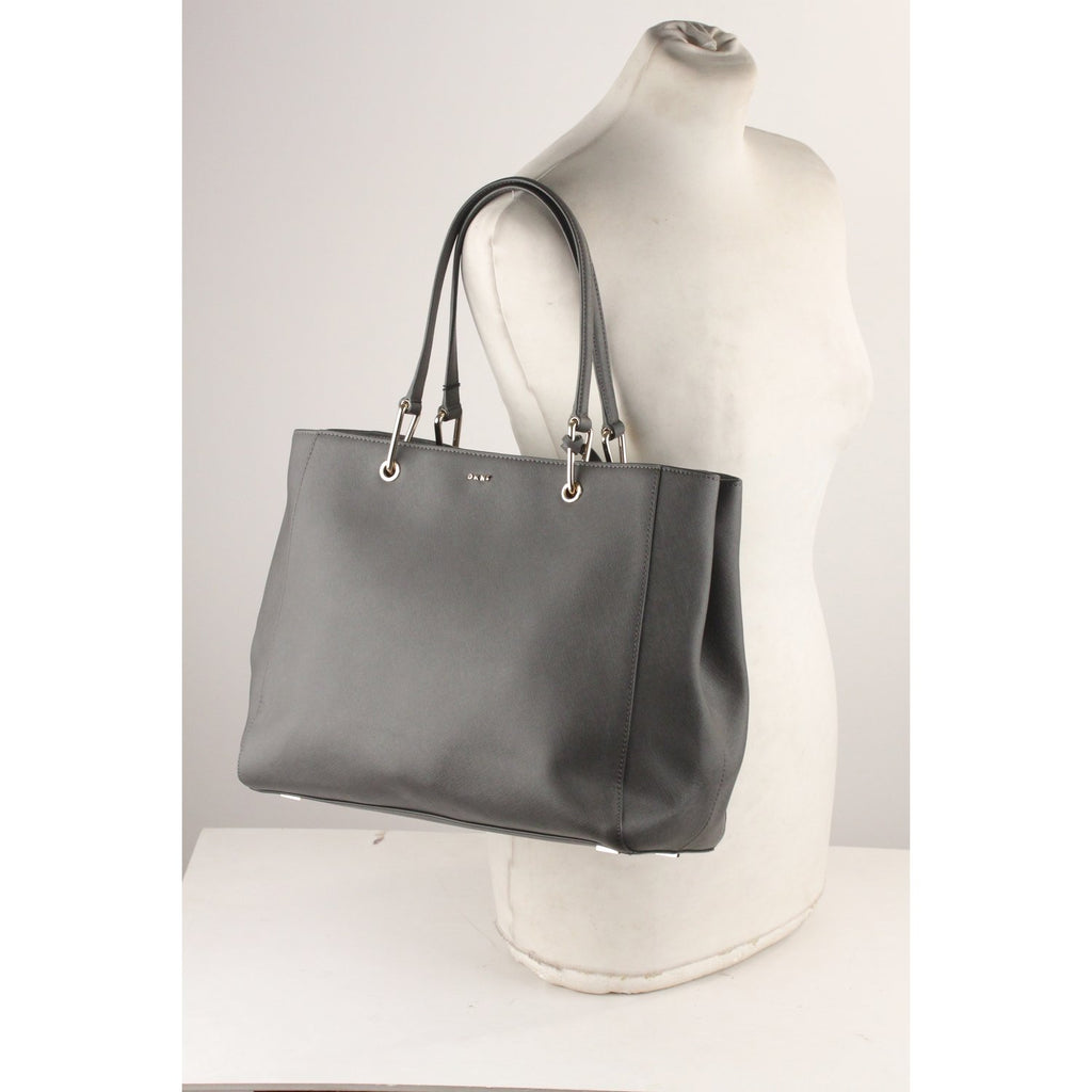 DKNY Gray Saffiano Leather Tote Bag