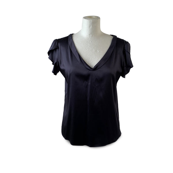 Emporio Armani Navy Blue Silk Short Sleeve Top T-Shirt Size 46
