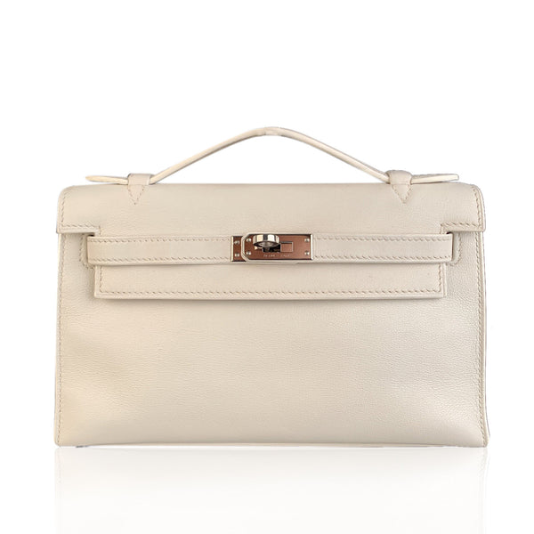 Hermes White Swift Leather Kelly Pochette Clutch Bag Handbag