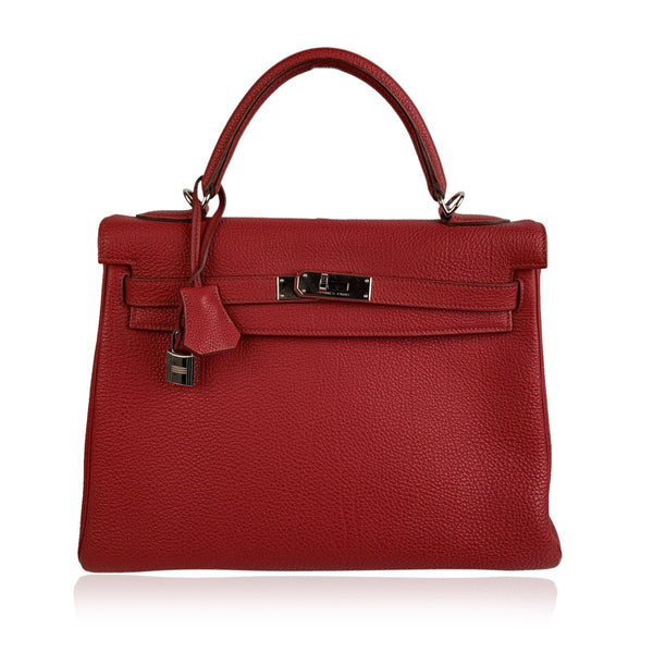 Hermes Red Leather Kelly 32 Retourne Top Handle Bag Satchel