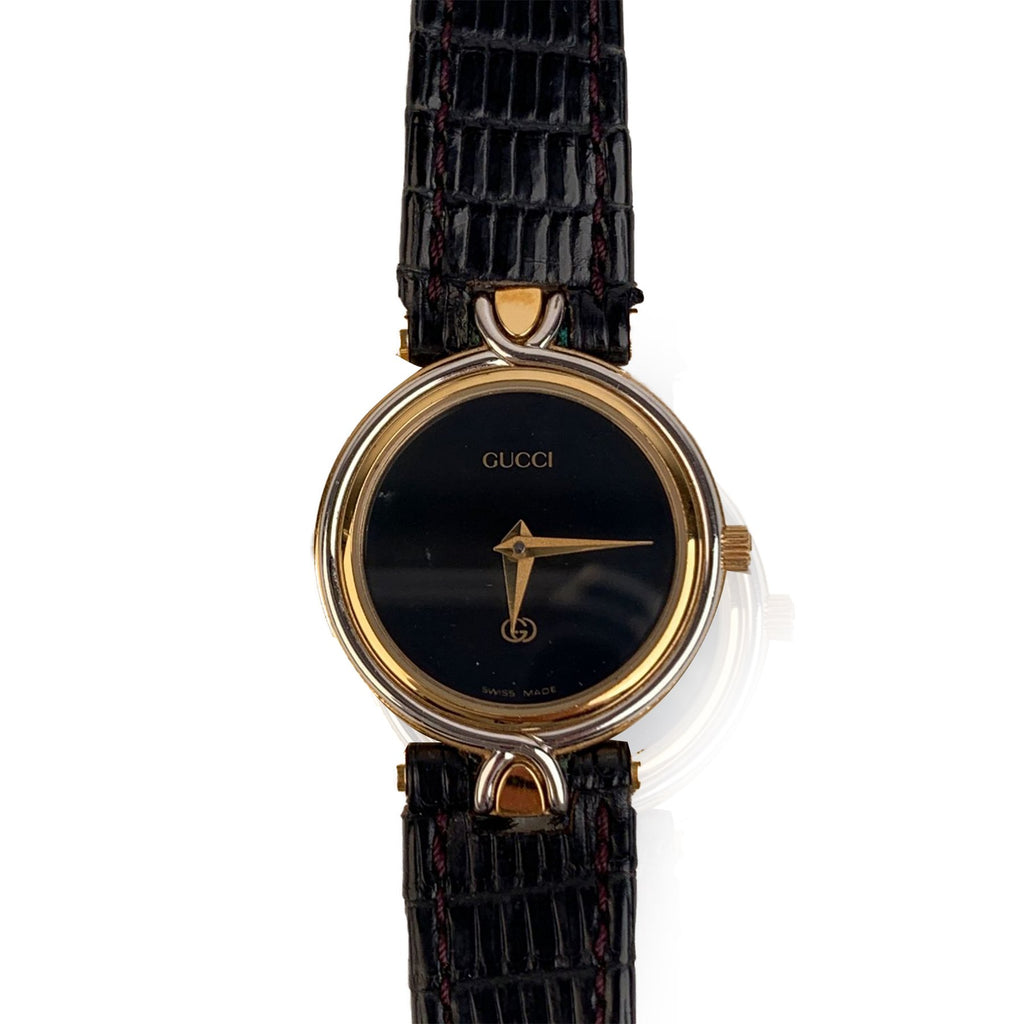 Gucci Vintage Gold Plated Mod 4500 L Watch Black Dial