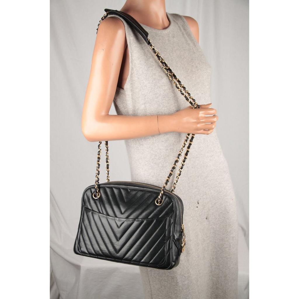 V Quilted Chevron Leather Shoulder Bag