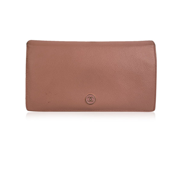 Chanel Pink Leather Long Continental Bifold Wallet with CC Logo