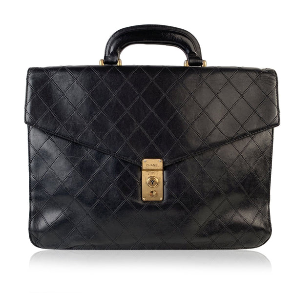 Chanel Vintage Black Quilted Leather Briefcase Work Bag Handbag