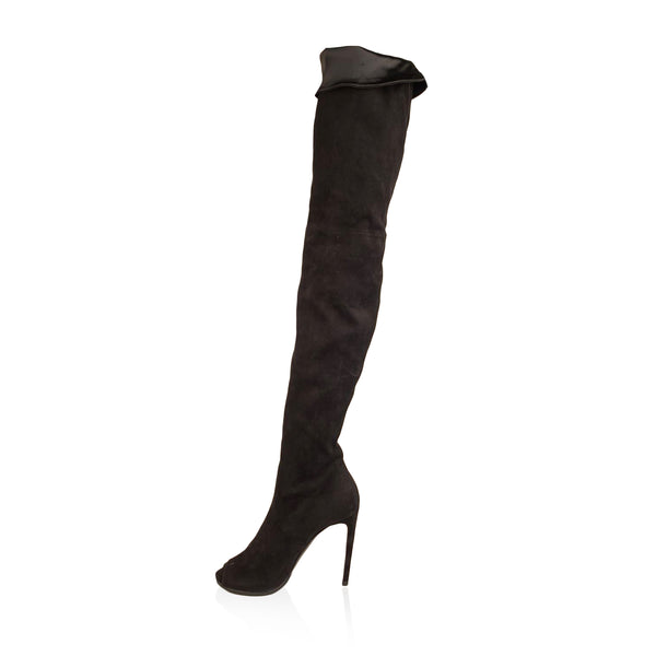 Flavio Castellani Black Suede Open Toe Over The Knee Boots 39