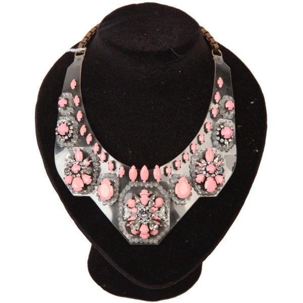 SHOUROUK Pink Rhinestones PVC Statement BIB NECKLACE