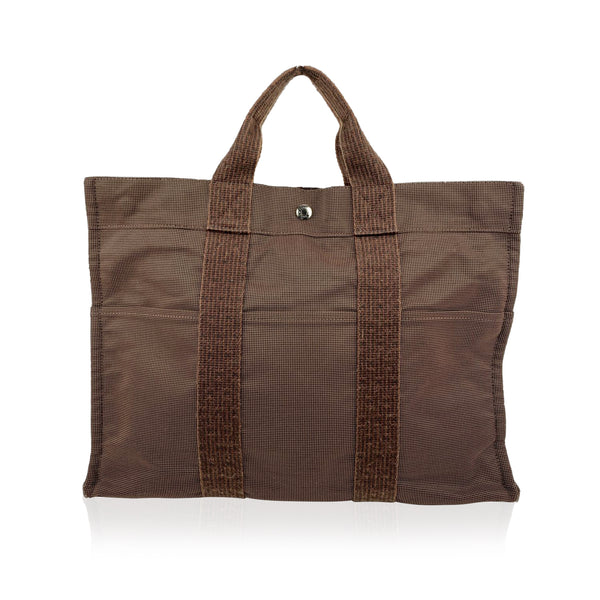 Hermes Paris Brown Canvas Herline Her Line MM Tote Bag