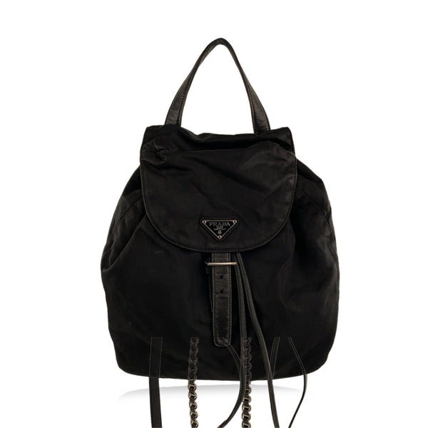 Prada Black Nylon Canvas Backpack Shoulder Bag with Chain Straps