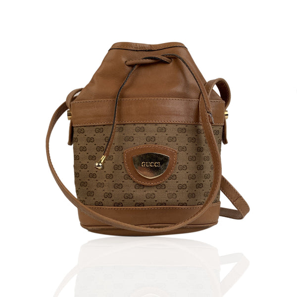 Gucci Vintage Tan Monogram Canvas Small Drawstring Bucket Bag