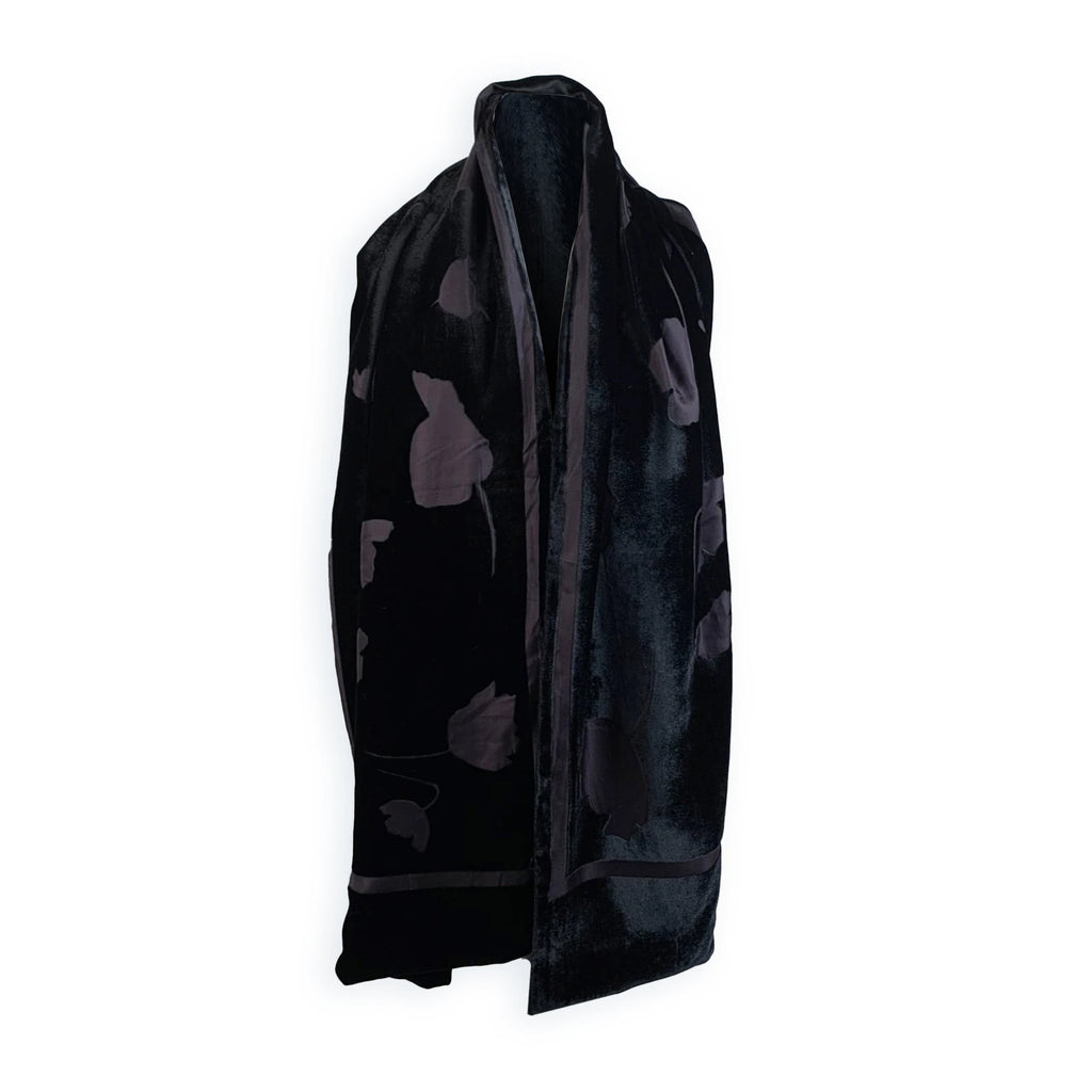Loro Piana Vintage Black Silk and Velvet Floral Stole Scarf