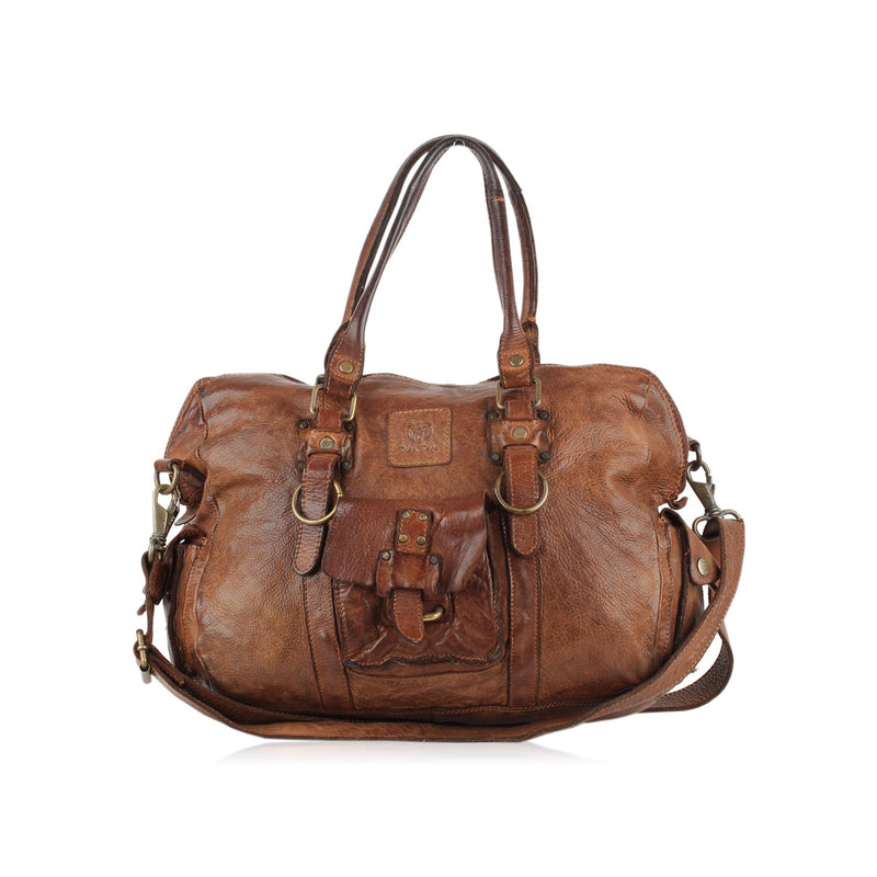 Bear Design Antiquated Leather Satchel Tote Bag