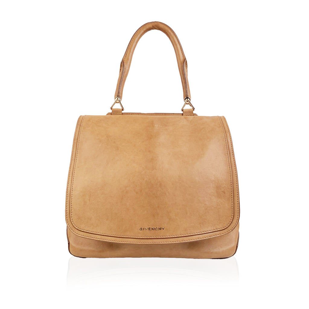 Givenchy Tan Leather Large New Line Flap Tote Shoulder Bag