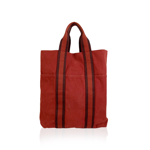Hermes Paris Red Cotton Canvas Fourre Tout Shopping Bag Tote
