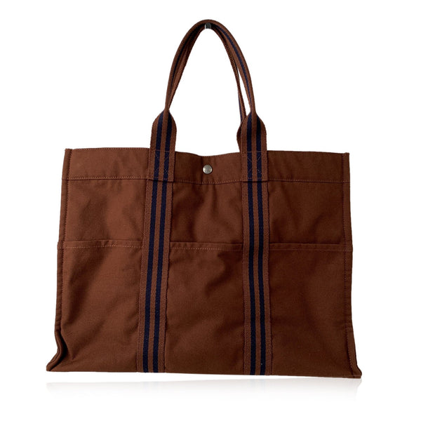 Hermes Paris Vintage Brown Cotton Canvas Tote Handbag Fourre Tout GM