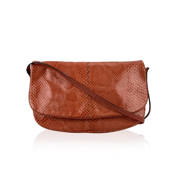 Bottega Veneta Orange Leather Flap Crossbody Messenger Bag